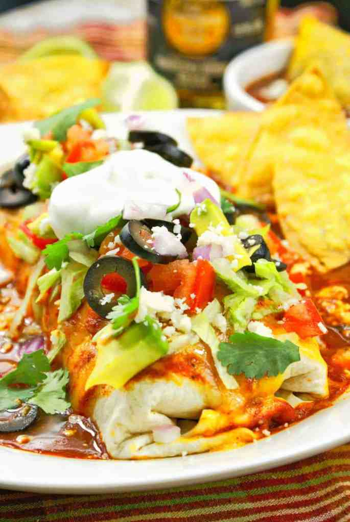 Slow Cooker Smothered Chicken Burritos
