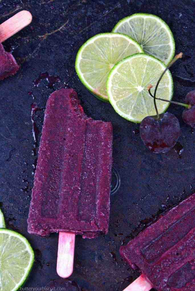 Cherry Lime Fruit Popsicles