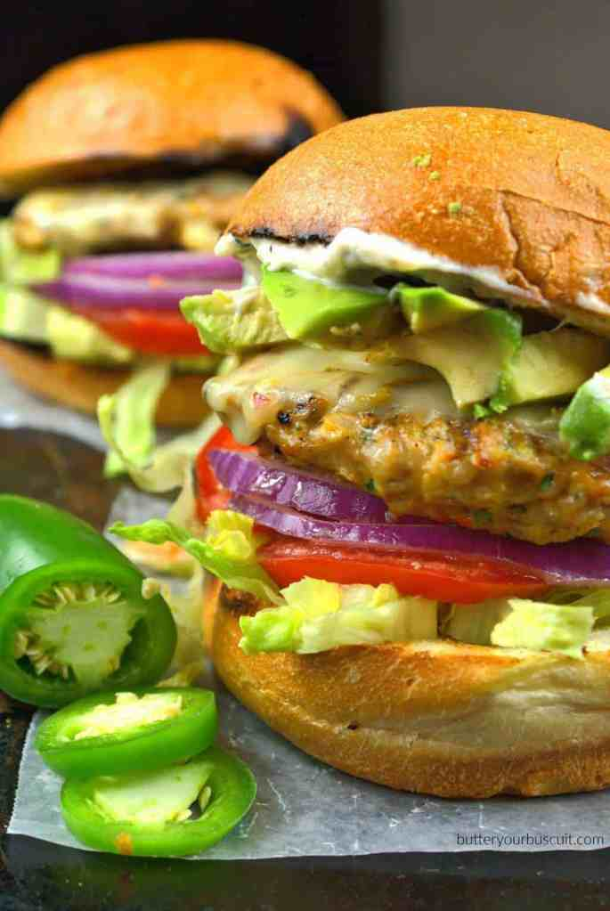 Jalapeno Pepper Jack Chicken Burger with Roasted Garlic Mayo