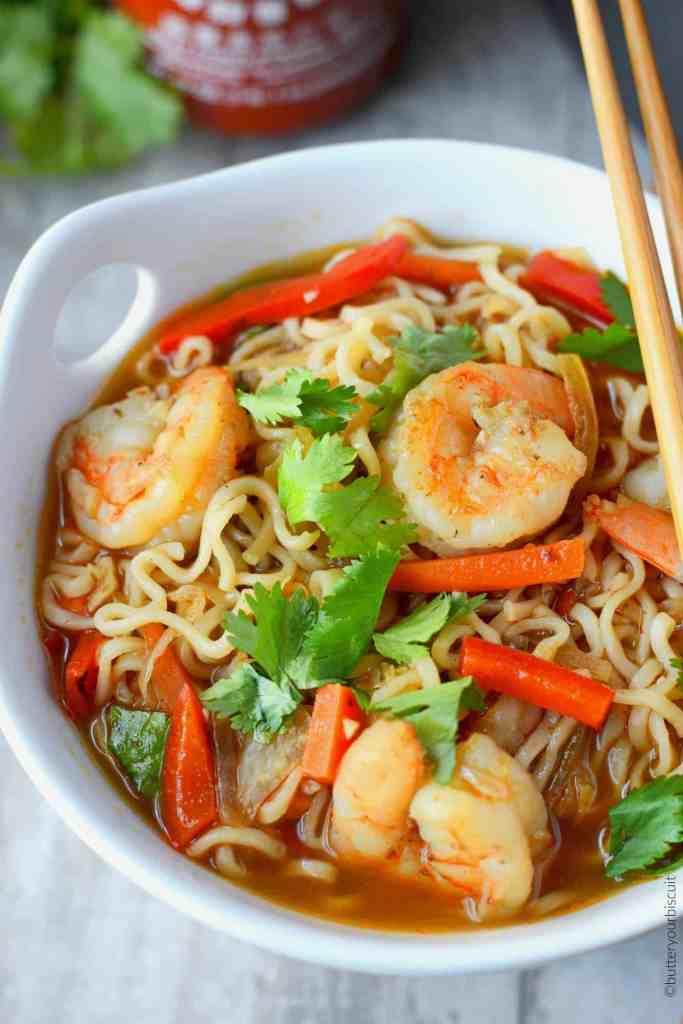 Spicy shrimp ramen