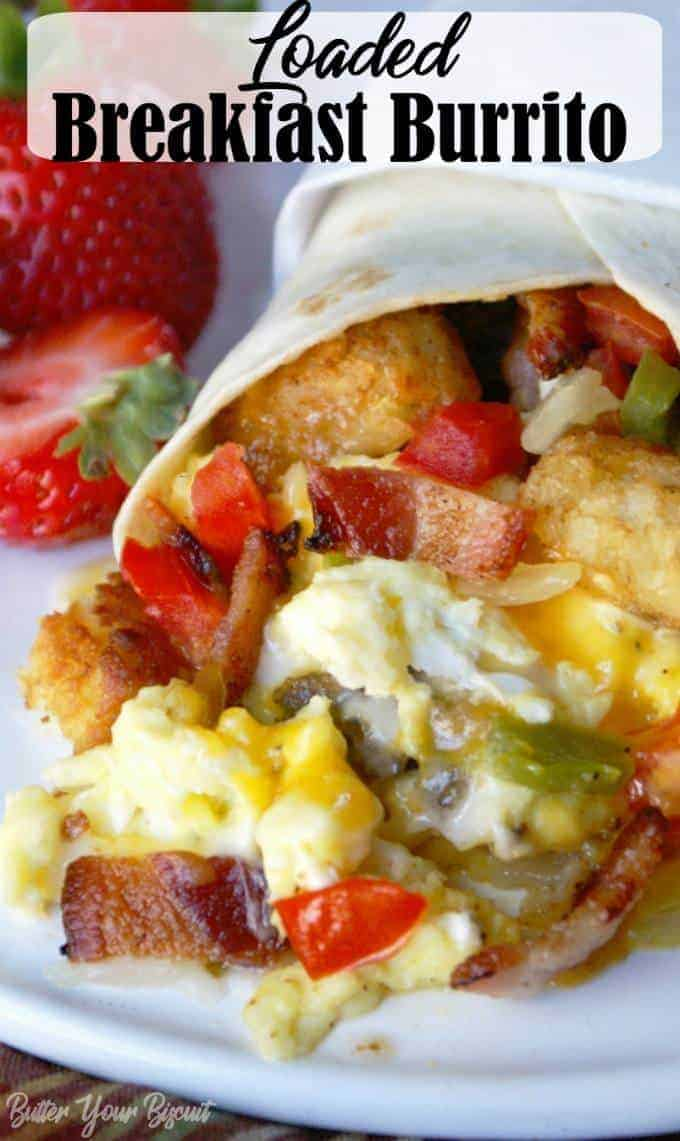 This Breakfast burrito recipe is quick and easy. Loaded with all your favorites, make a whole bunch and freeze them for those rushed mornings. Simply delicious! #burrito #breakfastburrito #grabngobreakfast