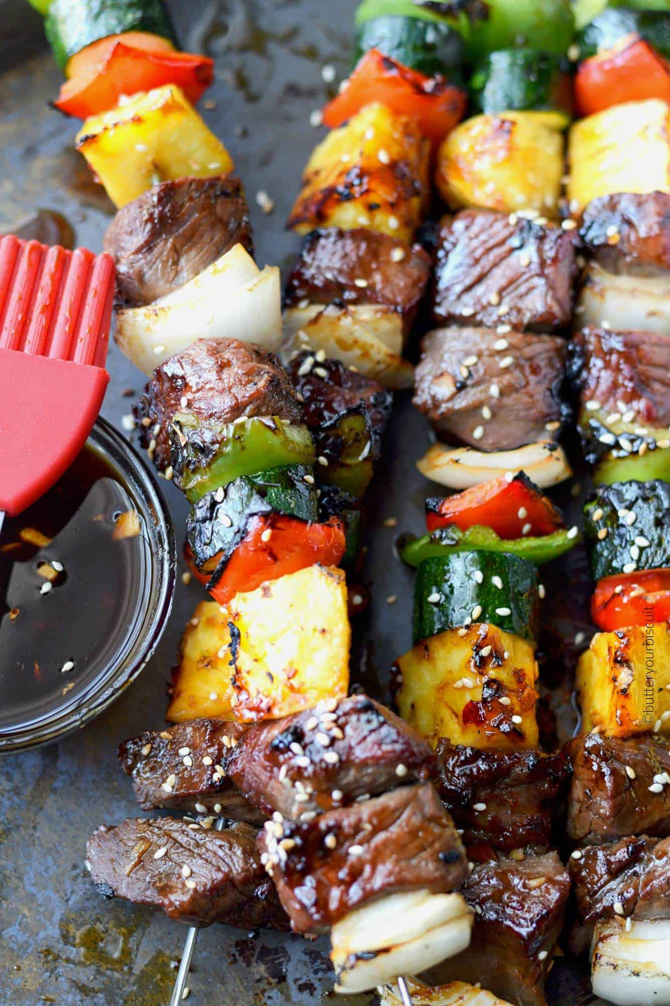 spicy teritaki grilled steak kebabs