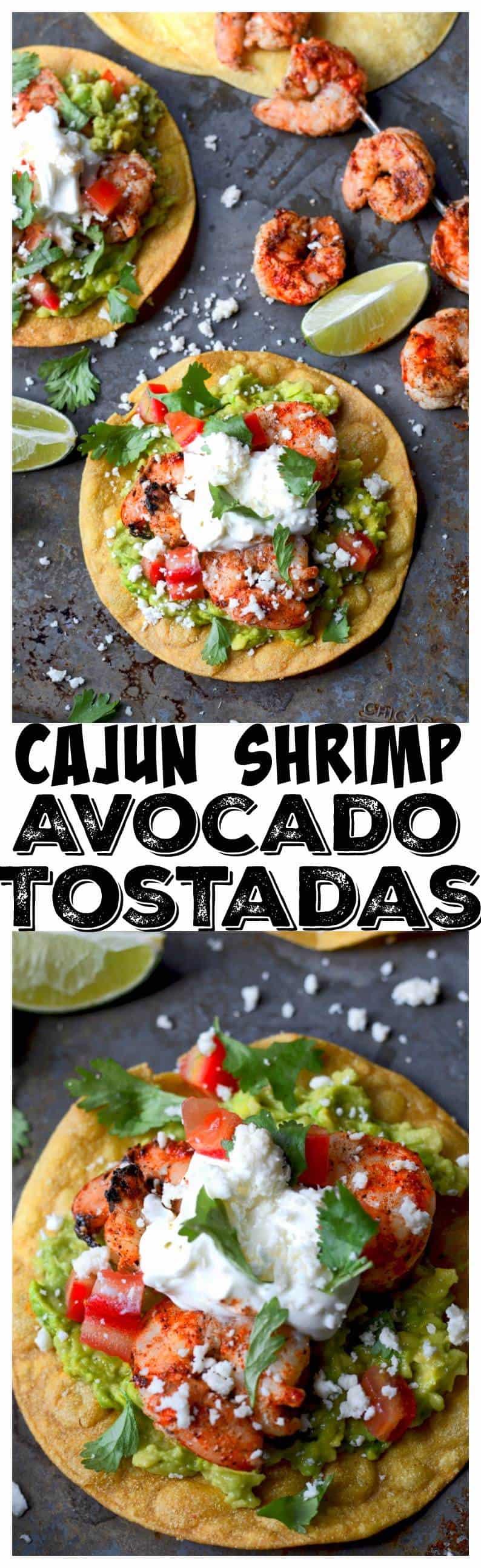 Cajun shrimp avocado tostadas