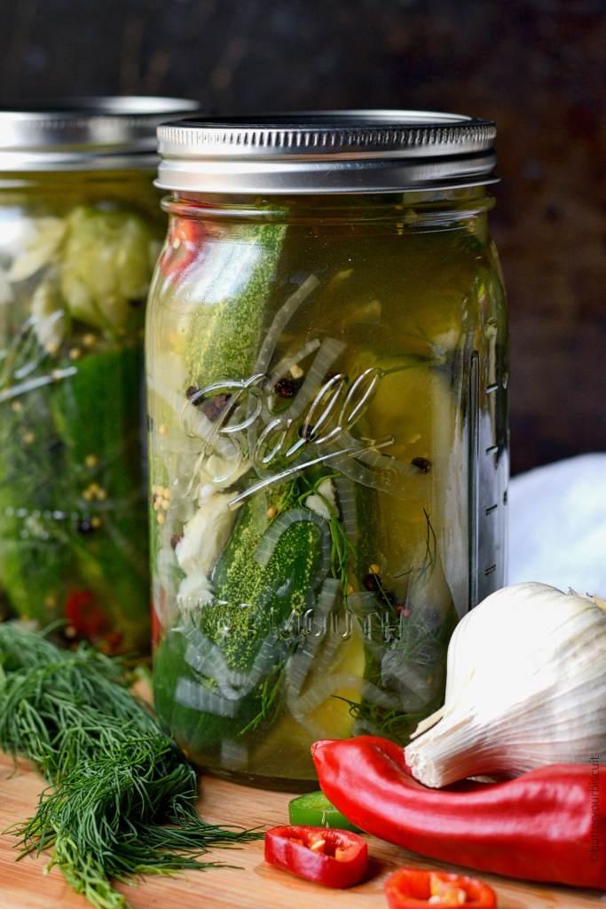 Garlic Jalapeño Dill Refrigerator Pickles