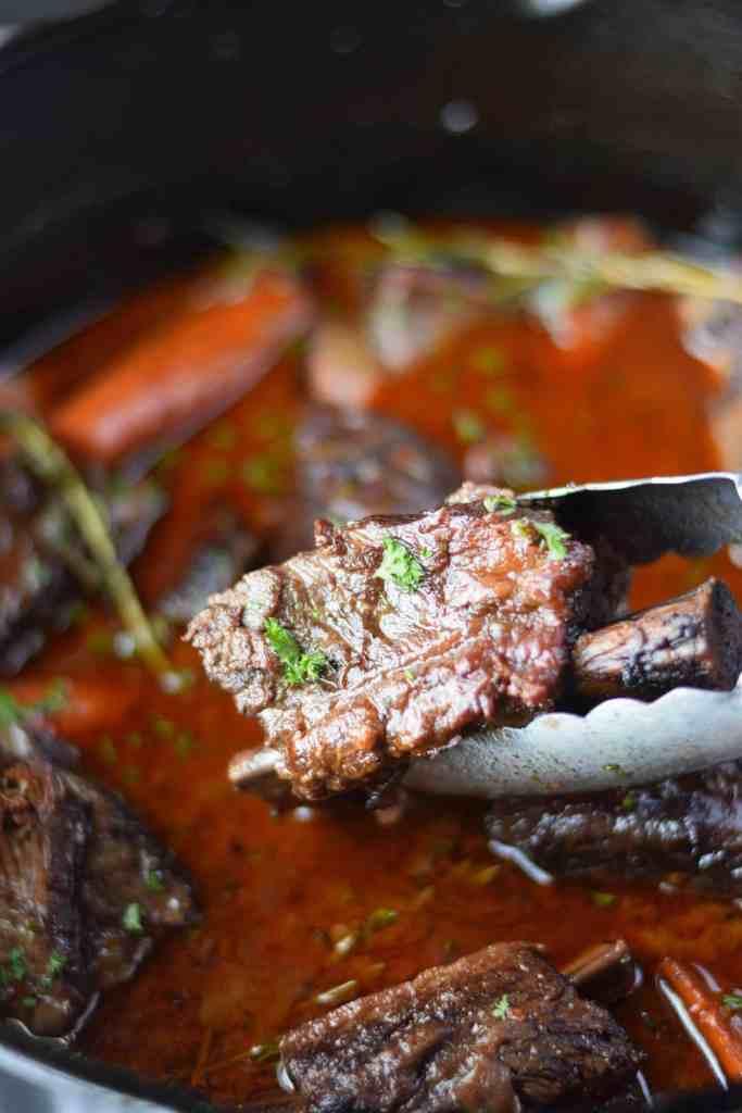 Beef short ribs braised in red wine