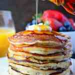 IHOP Copycat Pancakes stack with syrup
