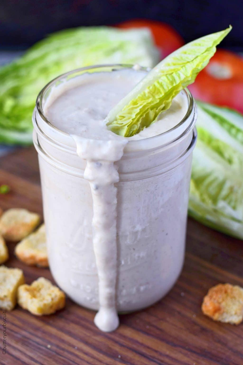 caesar salad dressing in a jar