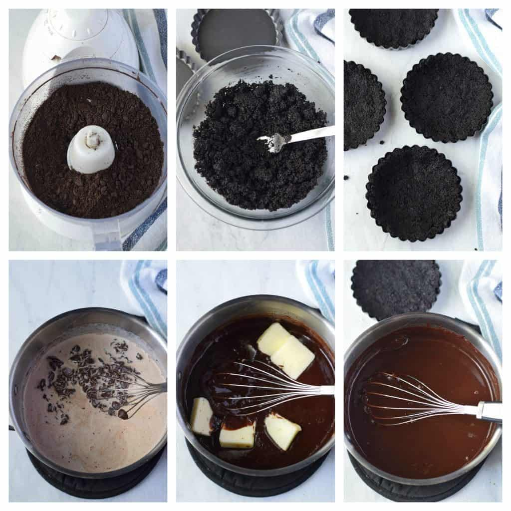 No bake chocolate mini tarts prep steps