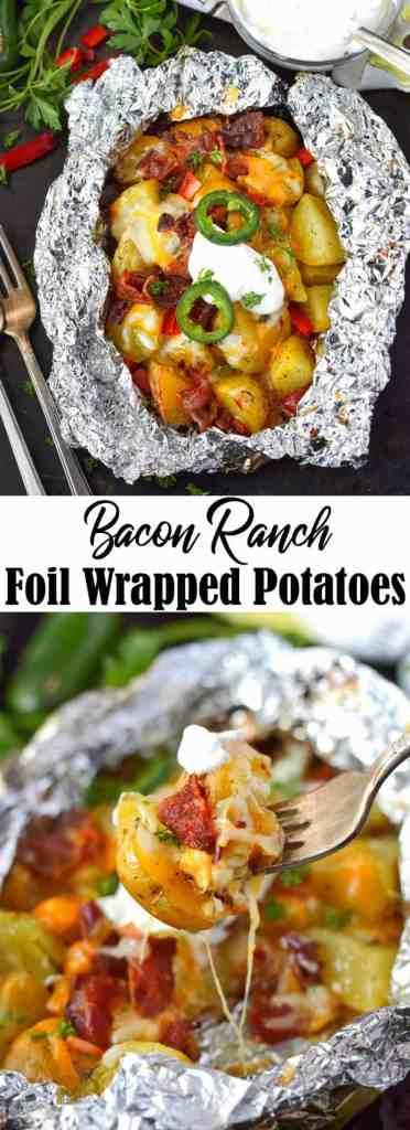 Bacon ranch foil wrapped potatoes