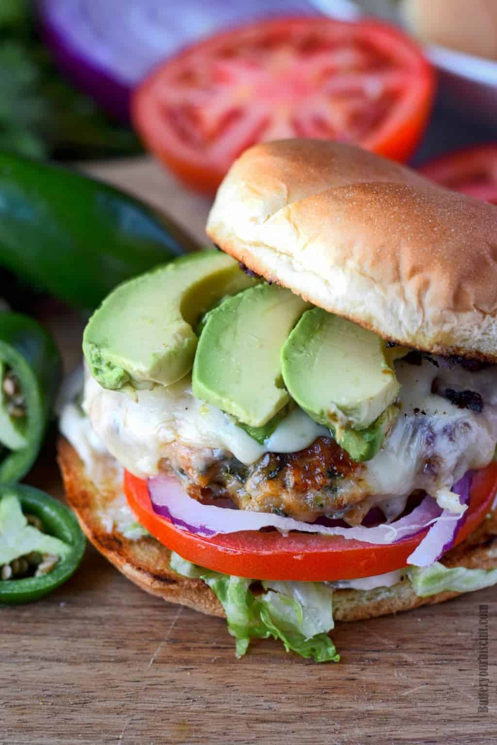 jalapeno pepper jack chicken burger without the top bun