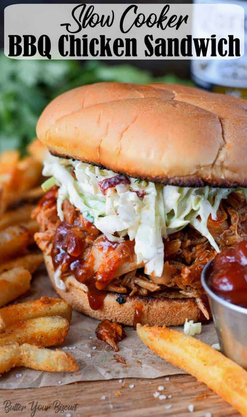This slow cooker bbq chicken recipe is so easy ans absolutely ah-mazing! Piled high on a toasted bun, with creamy chipotle slaw. #slowcooker #bbqchickensandwich #easyrecipe #crockpot