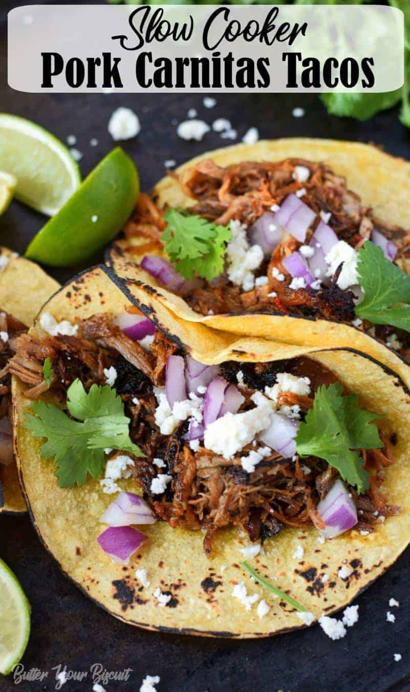 Slow Cooker Pork Carnitas Tacos recipe has loads of flavor and simple melts in your mouth. Hands down one of the best taco fillings ever! #tacos #porkcarnitas #carnitas #slowcookercarnitas #mexicanfood
