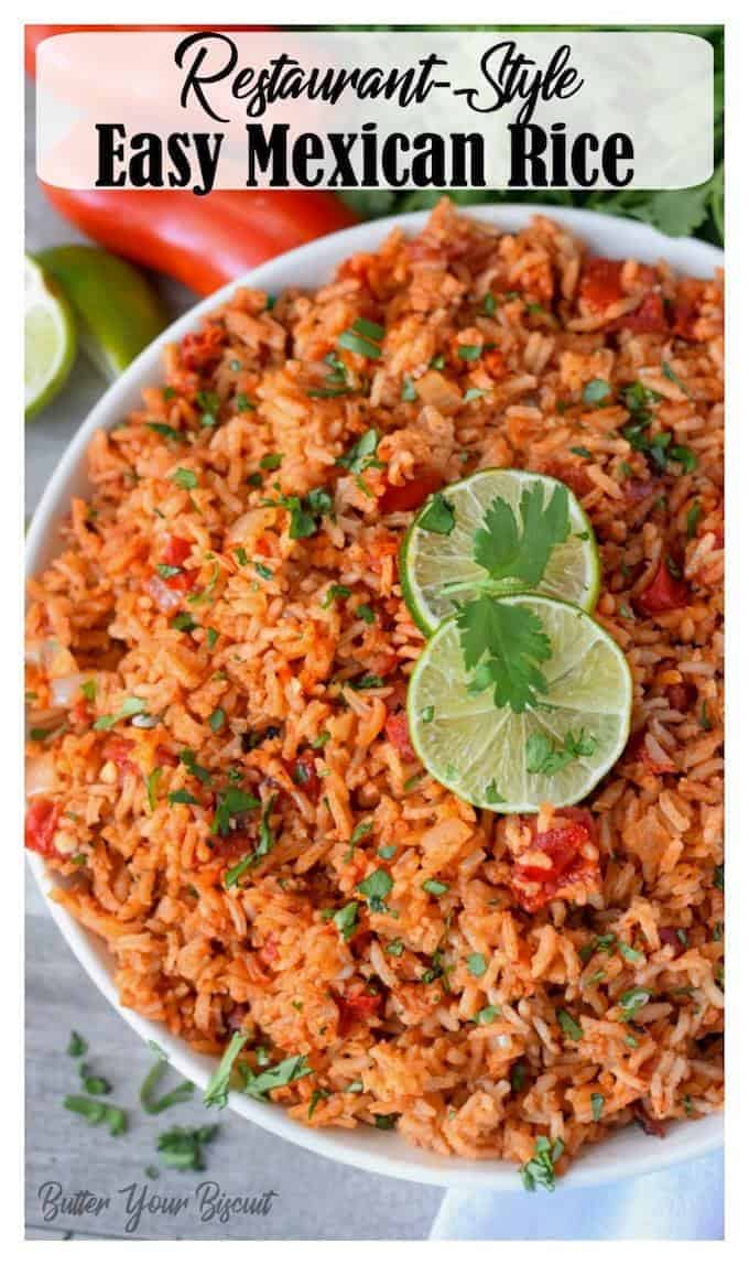 Restaurant style Mexican rice is the perfect side dish to all you favorite recipes. Easy one pot dish with simple ingredients that everybody will love. #mexicanrice #sidedish #mexicanfood