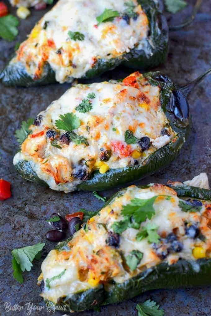 Chicken and Cheese Stuffed Poblano Peppers