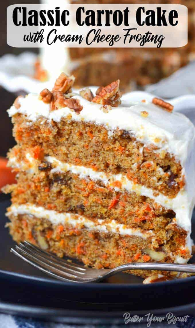 This Carrot Cake Recipe is easy to make, super moist and smothered in the most delicious cream cheese frosting! #carrotcake #dessert #cake
