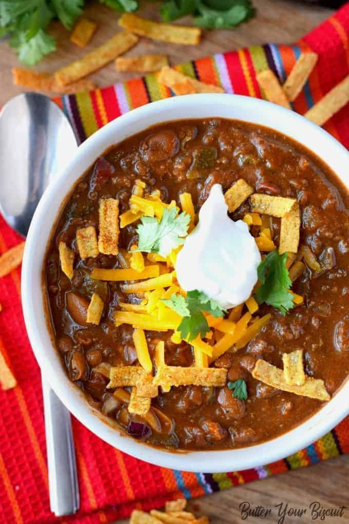 Roasted Poblano Pepper Beef Chili
