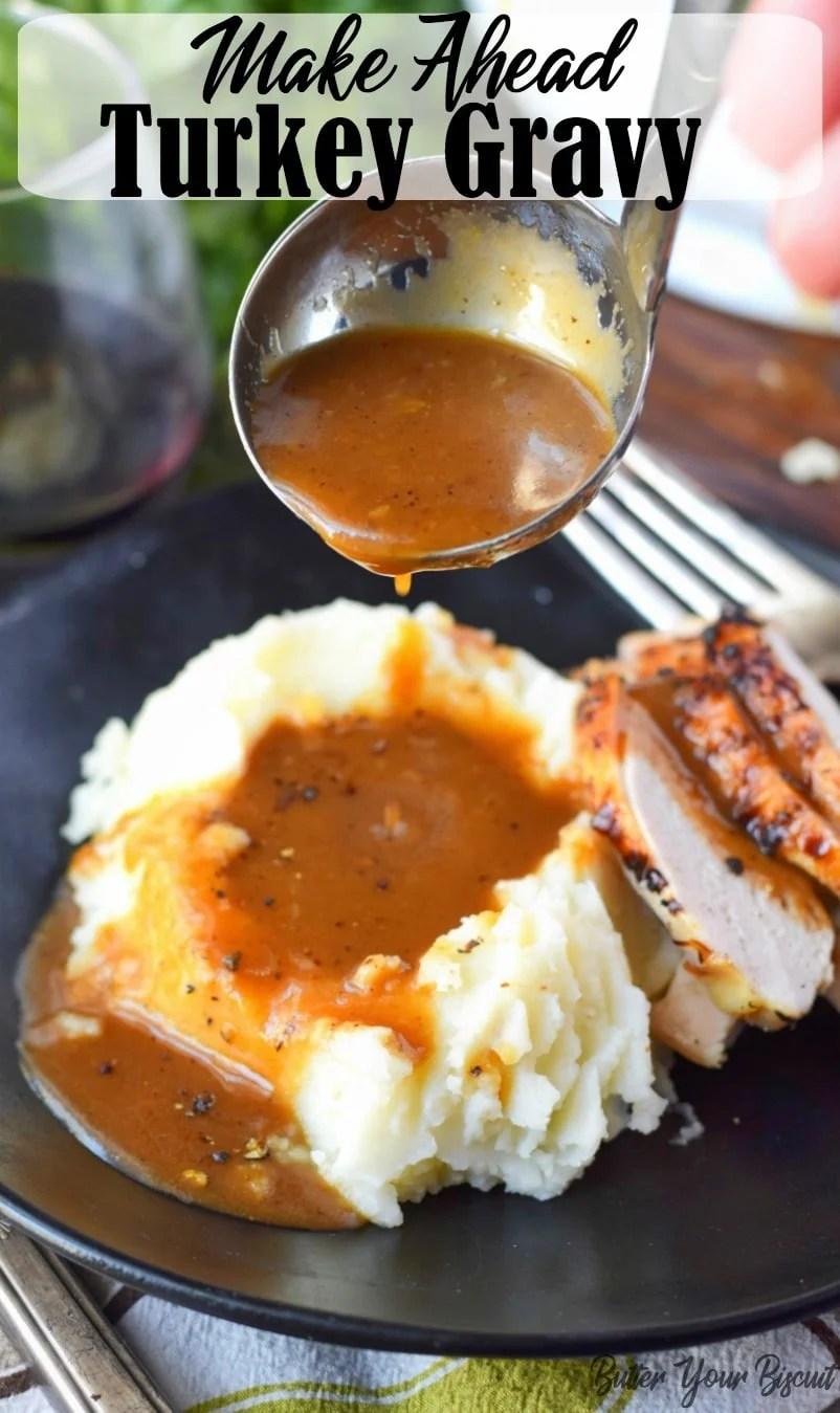 Make ahead turkey gravy is a must for a stress free Holiday dinner. I guarantee this rich, smooth turkey gravy is a total lifesaver! #thanksgivingdinner #turkeygravy #sidedish