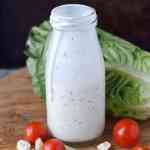blue cheese homemade salad dressing in a jar