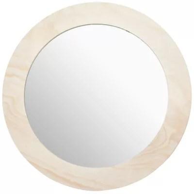 miroir rond avec cadre en bois 26 cm o