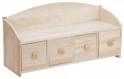 rangement a tiroirs en bois brut