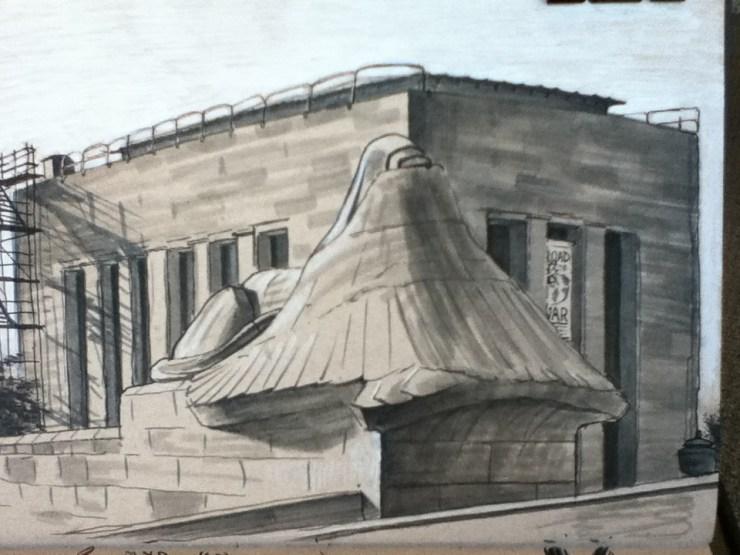 WWI monument, shrouded sphynx