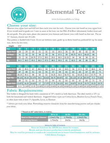 Elemental Tee Size Chart and Fabric Requirements 2021-05-01
