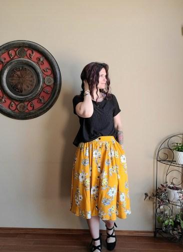 Black Eyelet Dolman Top with Mango Rayon Challis Skirt
