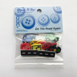 Cars and road buttons with street signs