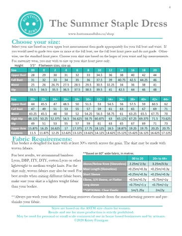 Summer Staple Size Chart and Fabric Requirements