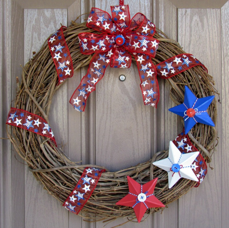 Seasonal Door Wreath Red White And Blue