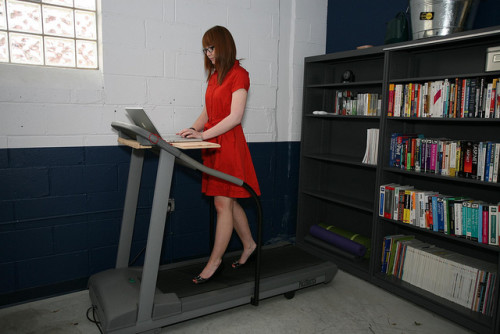 "Treadmill desk in heels? No thanks! (""Talia is famous"" image by Flickr user  sharyn morrow)"