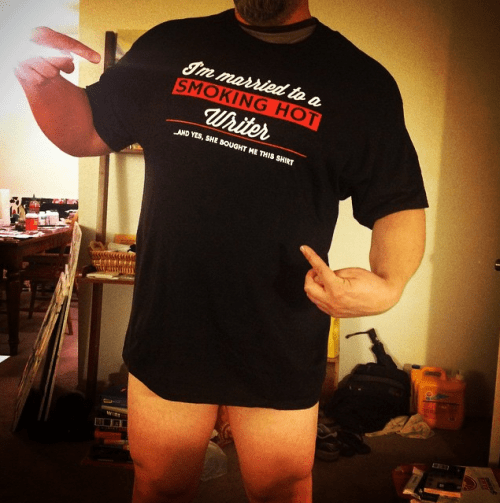 Proof that my husband really does exist, and does wear this t-shirt (sometimes with no pants).