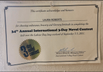 3-Day Novel Contest certificate