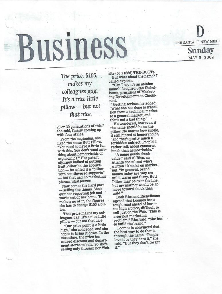 Newspaper Archive of The Buttpillow® - May 5, 2002
