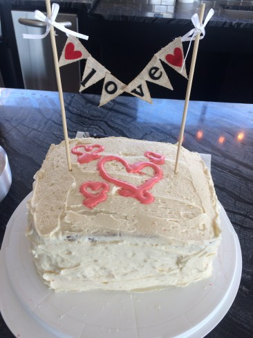 Strawberry layer cake with vanilla buttercream
