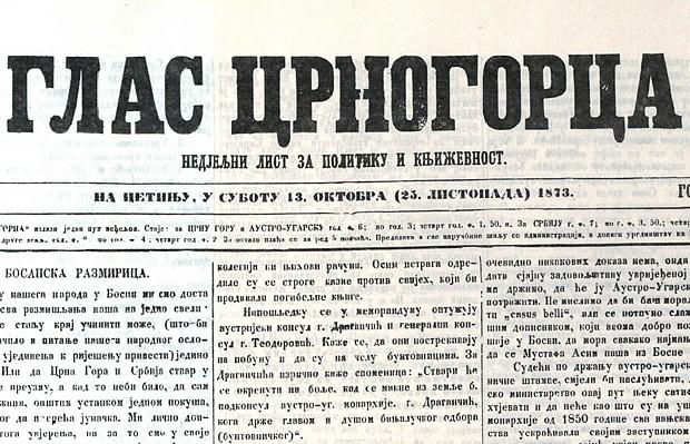Glas Crnogorca od 13. oktobra 1873