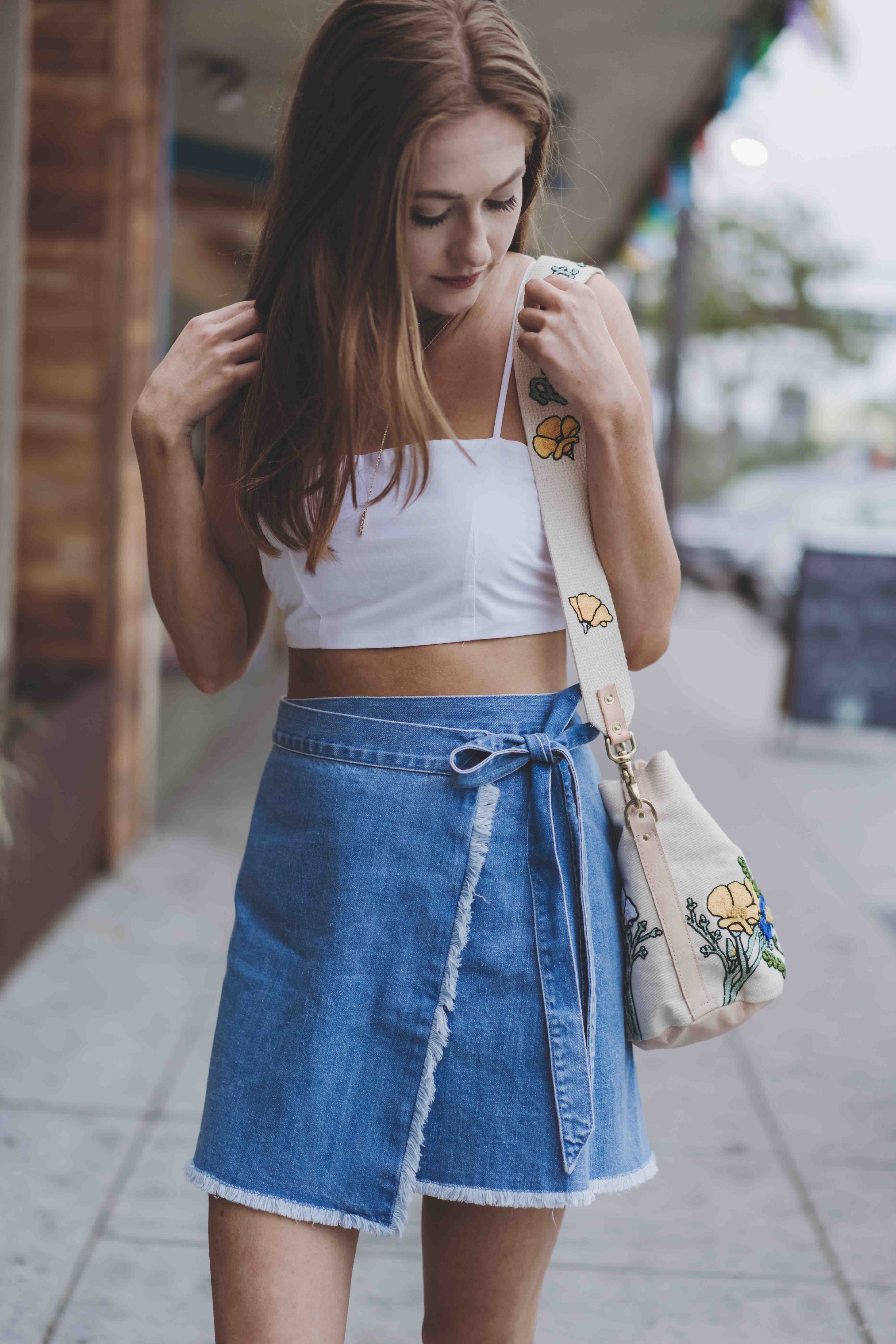 Five Wrap Denim Skirt to Transition your wardrobe to fall // But What Should I Wear