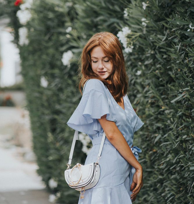 Blue striped and ruffles wrap dress paired with a chloe purse dupe. how to style and outfit ideas on but what should I wear