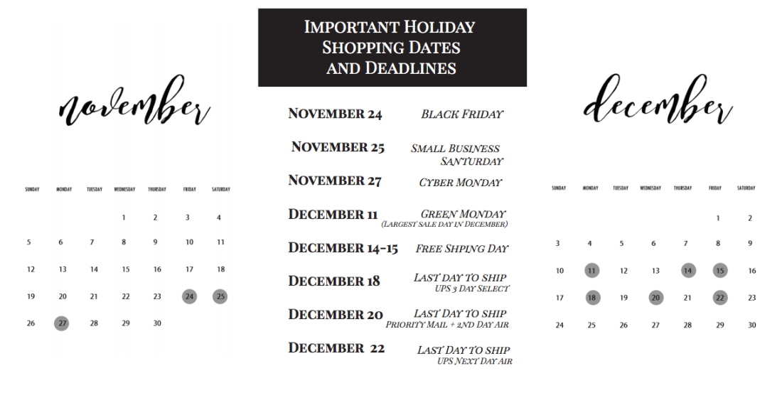 Important holiday shopping dates and deadlines - black friday Cyber monday christmas and holiday shopping