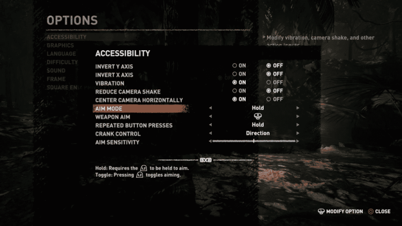 Shadow of the Tomb Raider Accessibility Options