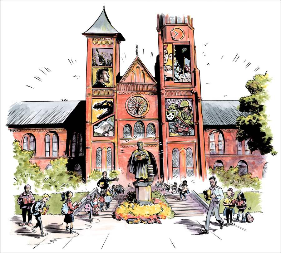 Smithsonian Institution Building as drawn by Nate Powell