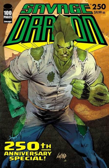 jaw-dropping Rob Liefeld (Deadpool) and Skottie Young (Middlewest, I Hate Fairyland) covers for the highly anticipated Savage Dragon #250
