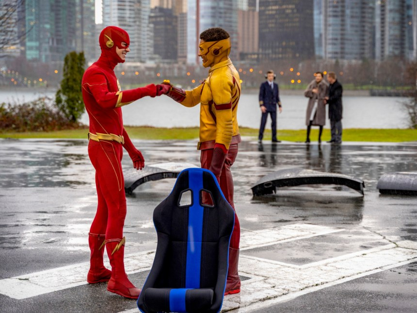 The Flash (Grant Gustin) and Wally West (Keiynan Lonsdale) reunited.