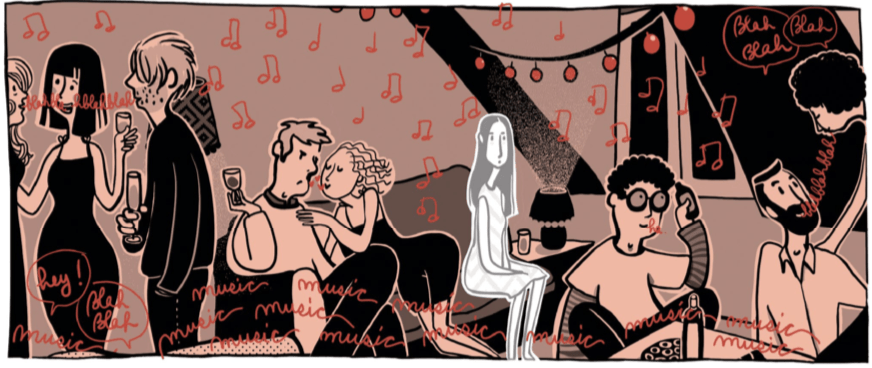 Marguerite sits on a couch surrounded by people socializing. Music notes drawn in red and the word 'music' are written over and over. Marguerite is drawn colorlessley as if she is a ghost and not really there.