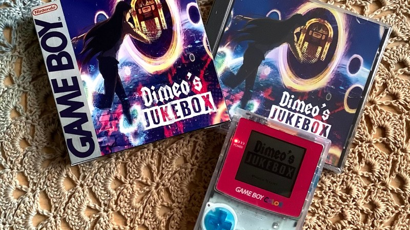 The physical edition of Dimeos Jukebox, a brand new Gameboy game set to release on December 1, 2020.