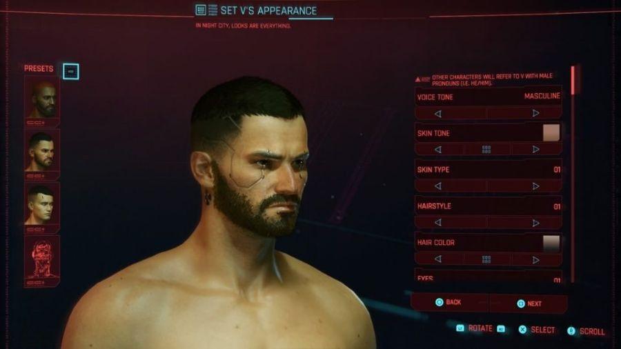 Cyberpunk 2077's Character Creator