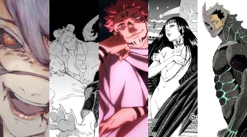 Sexy Monsters from (L to R): Tokyo Ghoul, MADK, Jujutsu Kaisen, Shigahime, and Kaiju No. 8