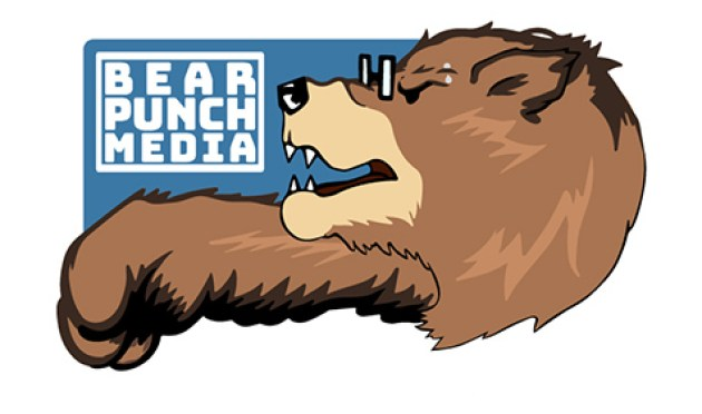 Bear Punch Media logo with a brown bear punching to the left of the screen with the logo name written out above its fist