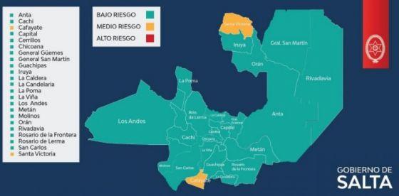 Salta tiene a 21 de los 23 departamentos en riesgo sanitario bajo para Covid-19
