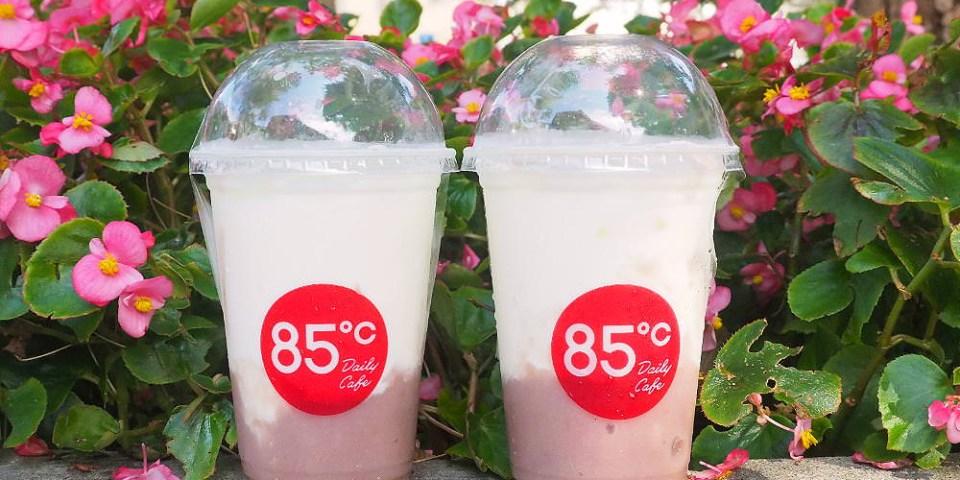 <台中飲料> 85°C芋頭鮮奶新上市,8天限定優惠,第二杯只要半價,鮮奶搭配芋頭顆粒的芋泥,香濃滑順!